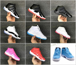 Wholesale Pink Girl Sneakers - kids sneakers retro 11 basketball shoes 2017 boys girls Space Jam 11s 45 Black Patent bred legend gamma blue concord pantone US size 11C-3Y