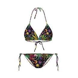 Wholesale Two Pieces Lingerie - Bikini 2017 Fashion women 3D leaf printed hang neck style sexy Lingerie two pieces beach swimwear