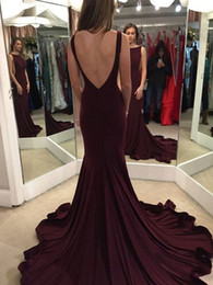 Wholesale Sexy Long Jersey Dresses - Elegant Trumpet Mermaid Scoop Neck Jersey Backless Prom Dresses 2018 Cheap Formal Evening Dress