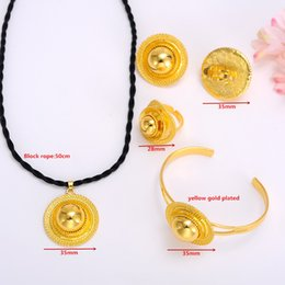 Wholesale Thick Red Rope - Wedding sets Real 24k Solid Yellow Thick Gold GF Pendant Necklaces Bangle Ring Earrings Black rope chain Luxurious Festival Jewellery