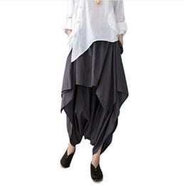 Wholesale Harem Pants Free Shipping - Women Pants Cotton Linen Ruffled Harem Pants Women Pantalon Femme Trousers Women Camouflage Casual Pants Free Shipping