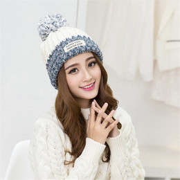 Wholesale White Cotton Beanie - 2017 New Fashion Winter Hats For Women Wool Letter Pompon Casual Hip Hop Knitted Warm Hat Female Beanies #CAP6A42