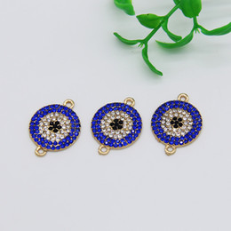 Wholesale Evil Eye Connector Free - Free Shipping 5pcs lot Gold Tone Round Coin Disc Rhinestone Evil Eye Connector Protection Charm DIY Fashion Bracelet Choker Findings 25*18mm