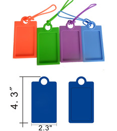 Wholesale Suitcase Card - Silicone Card Holder Travel Suitcase Luggage Tags Name Address ID Labels Candy Color Card Case Bag Backpack Tags with Lanyard Strap