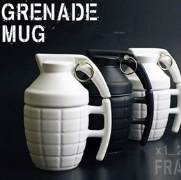 Wholesale Black Wholesale Ceramic Coffee Cups - Bomb Grenade Cup 280ml Ceramic Pottery Porcelain Mug Travel Coffee Water Mugs With Lid Handgrip OOA2083