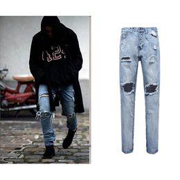 Wholesale Wholesale Man Jeans - Wholesale- Best Version Men Zipper Destroyed Torn Pants Skinny Jeans Blue Pants Slim Fit Fashion cotton jeans