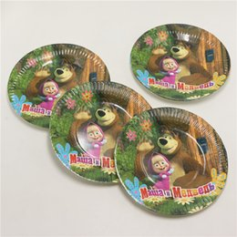 Wholesale Disposable Party Supplies Wholesale - Wholesale-Masha and Bear cartoon paper plates birthday party decoration banner bunting kids party disposable supplies 20pcs lot