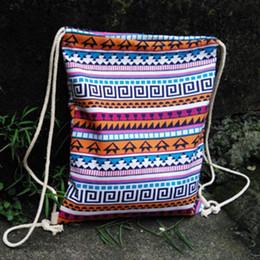Wholesale Girls Ethnic Dresses - New female women ethnic brief Drawstring backpack canvas style school Lady girl student school Travel laptop bag mochila bolsas