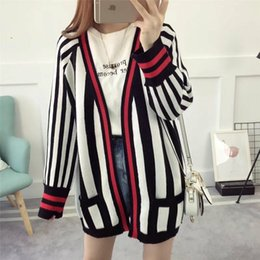 Wholesale Outwear Wool Woman - Black Striped Knit Long Cardigans Women Autumn Long Sleeve Women's Winter Sweaters Contrast Color Outwear Cardigan