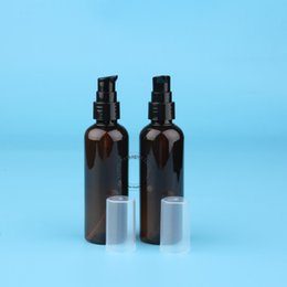 Wholesale Wholesale Empty Bottles For Water - Wholesale- 3pcs Lot High Quality 100ml Amber Lotion Pumb Bottle for Water Empty PET Spray Cosmetic Container Refillable Pot Makeup Can