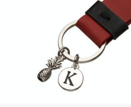 Wholesale Keyring Initials - VERY SMALL Pineapple Keyring Antique Silver Keychain Pineapple Charm Keychain Initial Keychain