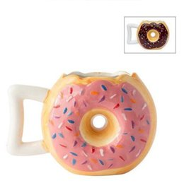 Wholesale Home Drinking Water - Cute Donuts Coffee Mug Creative Ceramic Mug Home Office Adult Kids Porcelain Milk Water Drinking Mug Gifts CCA8017 36pcs