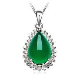 Wholesale Sterling Silver Initials - 925 Sterling Silver Chalcedony Pendant 19MMX15MM Natural Green Jade Necklace Pendant With Clear Rhinestone Jewelry For Women Gift