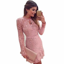 Wholesale Trend Evening Dress - Wholesale- Feitong Vestidos Women Fashion Sexy Lace Club Dress 2017 O-Neck Sleeve Pink Evening Party Dresses Vestido de festa Brasil Trend