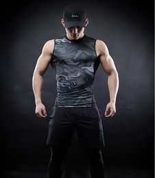 Wholesale Top Male Clothing - Men Compression Shirts 2017 New Fashion Camouflage style vest Cosplay Crossfit Tops For Male Fitness Clothes