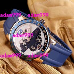Wholesale Perpetual Luxury - Luxury Swiss Brand Wristwatch UN El Toro Perpetual Calendar GMT Rose Gold Automatic Blue Rubber Strap Ulysse Mens Mechanical Watch Men Sale