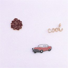 Wholesale Korean Car Styling - Wholesale- 2016 fashion accessories wholesale and foreign trade Japanese and south Korean style Drip handsome cars rose COOL brooches