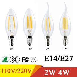 Wholesale Candle Shape Chandelier - LED Bulb C35 E14 E27 AC110V 220V 2W 4W LED Bulb Candle Flame Shape Cool Warm White Chandelier Spotlight Decor