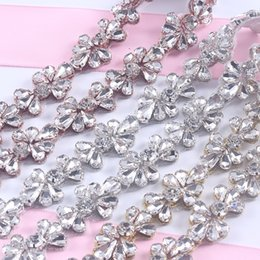 Wholesale Wholesale Sequin Belt Sash - 10Yards Rhinestones Trim Iron On Wedding Dresses Belt Rose Gold Silver Rhinetones Clear Bead Crystal Sewing On DIY Bridal Sashes