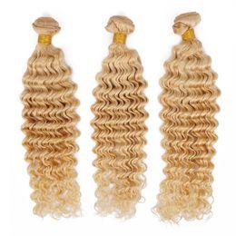 Wholesale 26 Diamond - Remy Human Hair Weave Deep Wave Brazilian Virgin Hair Bundles 613 Blonde Knots Free Best Quality Hair Extension Queenlike 9A Diamond Grade