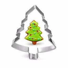 Wholesale Christmas Jelly Moulds - Stainless steel Mold Christmas Tree Shaped Biscuit Tools Cookie Cake Mold Jelly Pastry Baking Cutter Mould Tool WA1564