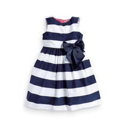 Wholesale Summer Striped Bowknot Dress - 3colors Girls striped sleeveless summer dress infants big ribbon bowknot lace flower dress children's sweet casual outfits for 1-5T