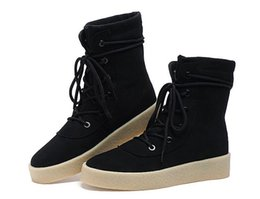 Wholesale Italian Mesh - Men KANYE WEST chelsea boots male silky gloss suede leather boot Italian leather luxury men vintage martin shoes
