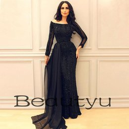 Wholesale Turkish Sexy - Yousef Aljasmi Black Formal Dresses Evening Wear With Detachable Chiffon Skirt Long Sleeves Major Beading Moroccan Turkish Prom Party Gowns