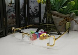 Wholesale Mirror Sunglasses Sale - hot sale fashion brand rimless buffalo horn glasses men women gold silver metal alloy frame man sunglasses with box