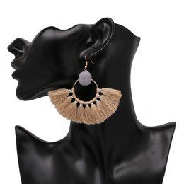Wholesale Chandelier Ball Large - New Wool Ball Tassel Earrings For Women Large Round Circle Fringe Dangle Drop Earring Xmas Gifts JJ