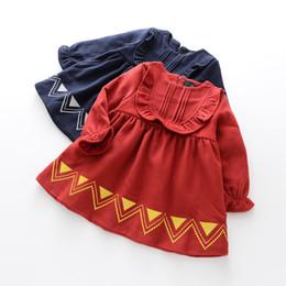 Wholesale Cute Dress Korean Style - Everweekend Kids Girls New Cute Lovely Ruffles Geometric Western Fashion Dress Children Tutu Printed Korean Dress