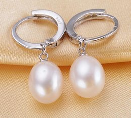 Wholesale Stud Pearl Earrings Droplets - Charming AAA 9-10mm Water droplets shape natural south sea white pearl earrings ED151129Z