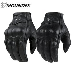 Wholesale Real Motorbikes - Wholesale- Motorcycle Gloves Goatskin Leather Real Genuine Cycling All Season Moto Glove Men Racing Motorbike Guantes Luvas