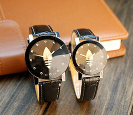 Wholesale Ad Fashion - 2017 Fashion Unisex Sport Watches AD Leather Strap Men Women Clover Dress WristWatches Casual Quartz Lover's Reloj Mujer Drop Shipping