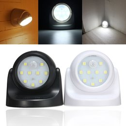 Wholesale Battery Nightlights - Security 9 LED Led Motion Sensor Night Light 360 Degree Rotation Children's Nightlight Auto PIR IR Infrared Detector Lamp