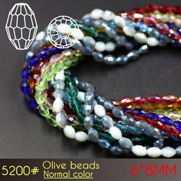 Wholesale Rice Toppings - Rice shape glass crystal beads Olive Beads 6x8mm Normal color A5200 72pcs set with top sale