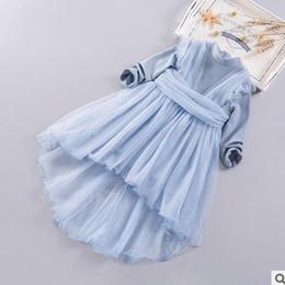 Wholesale Dovetail Dresses - Girls princess Ball Gown fashion Kids long sleeve tulle splicing dress children Irregular Hem dovetail dress 2017 new kids clothes G0825