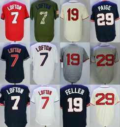 Wholesale Polyester Bobs - Cleveland 7 Kenny Lofton 19 Bob Feller 29 Satchel Paige 20 Frank Robinson Flexbase Jerseys Throwback Stitched White Red Grey