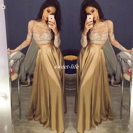 Wholesale Pictures Crops - 2017 Cheap Crop Top Two Piece Prom Dresses Sexy Sheer Lace Applique Jewel Neck Long Sleeve Illusion Gold A-Line Taffeta Evening Party Gowns