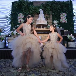 Wholesale Dres Red - Classy High Low tiered girls pageant Dresses Special Occasion For promance Lace Appliqued flower dress Ball Gown Tulle First Communion Dres