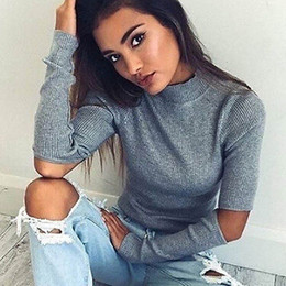 Wholesale Turtleneck Cape - Wholesale- turtleneck off shoulder knitted sweater women autumn Fashion tricot pullover jumpers Pull femme oversized capes