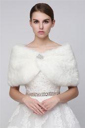 Wholesale Grey Fur Bolero - 2017 Cheap Faux Fur Long Shrug Cape Stole Wrap For Wedding with Long Sleeve Free Size Bridal Prom Evening WHITE IVORY Bolero 17012WT-M
