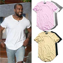 Wholesale Men Plain Shirts - Hip Hop Plus Size T-shirt Men Extended T shirt Plain Long line Casual White Men Tee Shirts Male Clothes free shipping