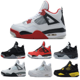 Wholesale Thunder 4s - Air 4 Men Basketball shoes Pure Money White Cement Premium Black Military Blue Thunder bred Oreo Fire Red air 4s sports sneaker