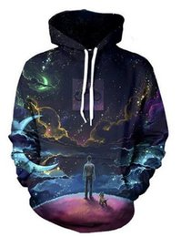 Wholesale Dogs Jumpers - Wholesale-Women Galaxy Space Thinker with dog 3d print Jumper Hoodies Fashion Clothing Men Tops Pullover Sweatshirt sweats outfits