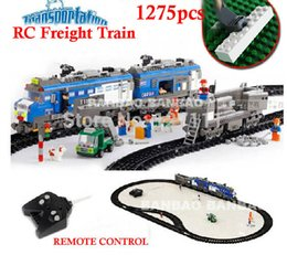 Wholesale Diy Train Set - Wholesale- 8228 Remote Control toys Freight Train 1275pcs RC Transport Plastic Model Building Block Sets Educational DIY Bricks Toys