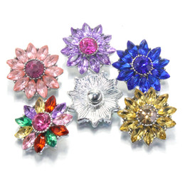 Wholesale One Direction Wrist - 6 colors crystal flower 18mm metal snap button Wrist watches for women bracelet bead charm one direction
