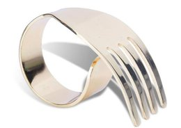 Wholesale Golden Napkins - Wholesale- Kitchen Table Decoration Accessories alloy plating golden silver fork Napkin Rings free shipping