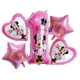 Wholesale Decorative Models - 5pcs lot Minnie Mouse Foil Balloons Mickey Theme Party Helium Balls Birthday Party Decor Supplies Air Globos