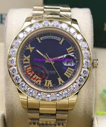 Wholesale President Ii - High Quality free shipping AAA Day-Date 2 II 18k 41MM Blue Dial Mens President Yellow Gold Bigger Diamond Mechanical Men Watches